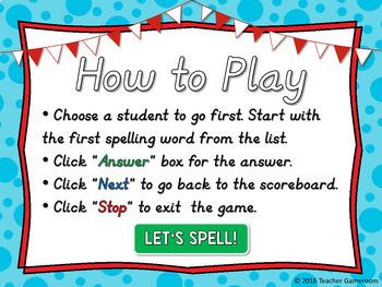Editable Spelling List Game