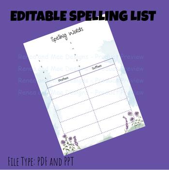 Editable Spelling List Purple Flower Watercolor Theme By