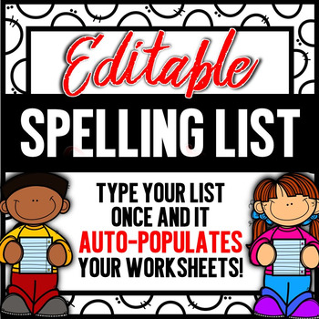 Editable Spelling List or Sight Words - Write your words 3x each