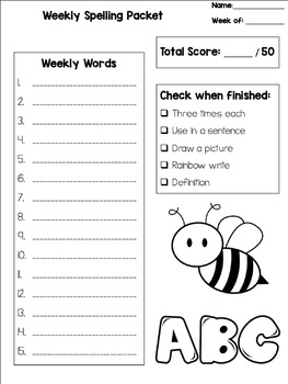 Editable Spelling Packet