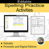 Editable Spelling Practice, Spelling Activities for any wo