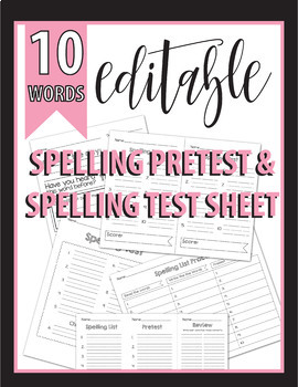 Editable - 10 Word List Spelling Test, Quiz, Pretest, Vocabulary PK, K, 1st, 2nd