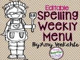 Editable Spelling Weekly Menu