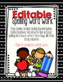 Editable Spelling Word Work/Homework