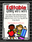 Editable Spelling Word Work/Homework