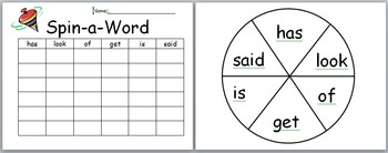 Editable Spin a Sight Word Center Game