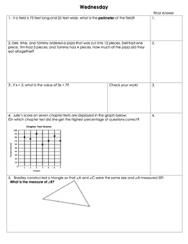 Editable Spiral Review Math Homework for the Whole School Year