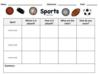 Editable Sport Skill Comparison (Danielson)