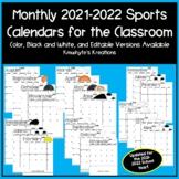 Editable Sports Monthly Calendars