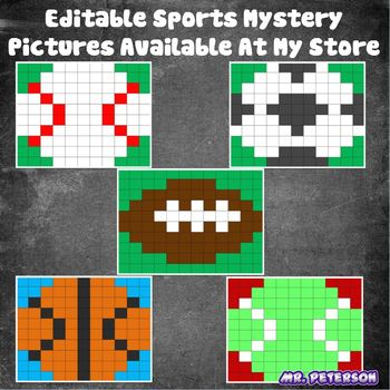 Editable Sports Mystery Picture Baseball  - Sight Words Spelling Vocabulary Math
