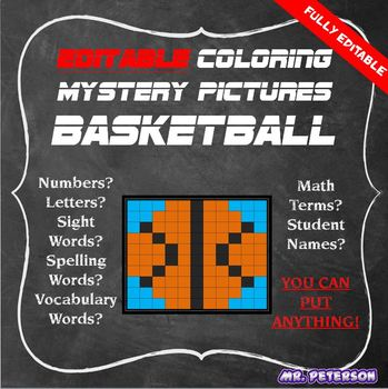 Editable Sports Mystery Picture Basketball- Sight Words Spelling Vocabulary Math