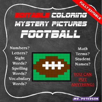 Editable Sports Mystery Picture Football- Sight Words Spelling Vocabulary Math