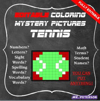 Editable Sports Mystery Picture Tennis- Sight Words Spelling Vocabulary Math