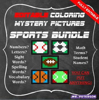 Editable Sports Mystery Pictures BUNDLE  - Sight Words Spelling Vocabulary