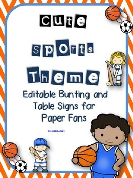 Editable Sports Themed Bunting with Table Signs