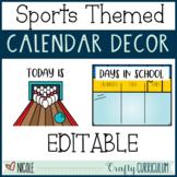 Editable Sports Themed Calendar Decor