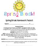 Editable*** Spring Break Homework Packet