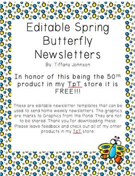 Classroom Newsletter in Spring Butterfly Freebie