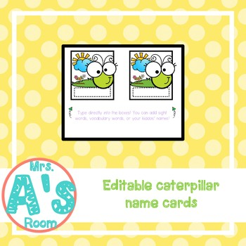 Editable Spring Caterpillar Names Busy Box