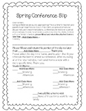 Editable Spring Conference Slip