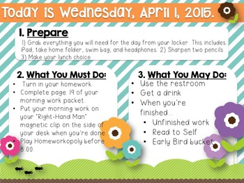 Editable Spring Morning Work/Message Template