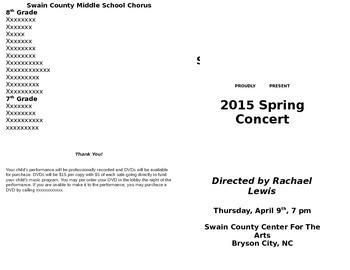 Editable Spring Music Concert or Kindergarten Graduation Program 2015