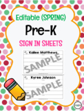 Editable Spring Pre-K Sign In Template