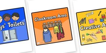 Editable Square Classroom Area Signs - Coloured Background (Black Border)
