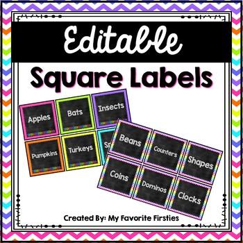 Editable Square Labels {Brights & Chalkboard}