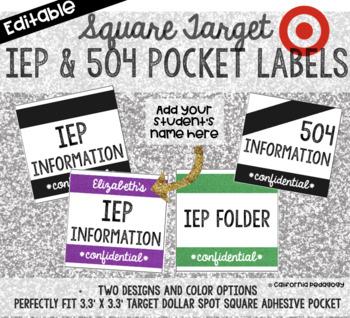 Editable Square Labels | Target Adhesive Pocket Labels | IEP & 504 Labels