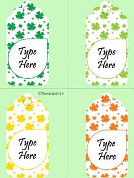 Editable St. Patrick's  Day Gift Tags (Large Size)