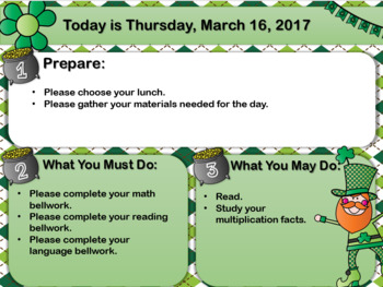 Editable St. Patrick's Day Morning Boards