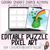 Editable St. Patrick's Day Puzzle Pixel Art (12 large ques