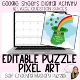 Editable St. Patrick's Day Puzzle Pixel Art (16 large ques