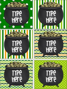 St. Patrick's Day Labels -Editable