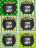 St. Patrick's Day Gift Tags -Editable Labels