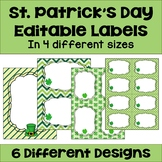 Editable St. Patrick's Day Labels (4 sizes and 6 different designs)