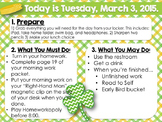 Editable St. Patrick's Day Morning Work/Message Template