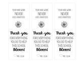 "Editable Staff Flower Tag ""Thank you for helping this school bloom!"""