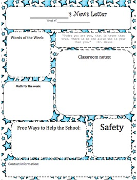 Classroom Newsletters Star