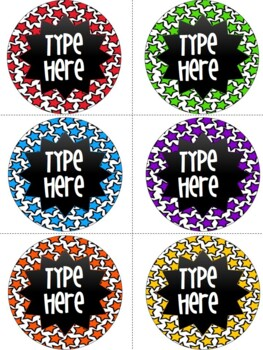 Editable Star Round Labels