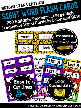 Editable Star Sight Word Flash Cards: Teachers College High Frequency Words