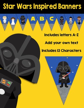 Editable Star Wars Inspired Themed Banners Pennants