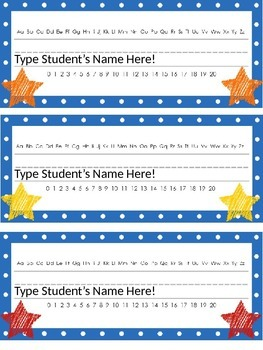 Editable Star and Polka Dot Themed Name Desk Plates w/Alphabet and Numbers 0 -20