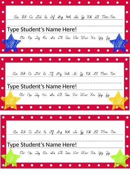 Editable Star and Polka Dot Themed Name Desk Plates w/Cursive Letters