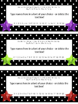Editable Star and Polka Dotted Themed BLANK Desk Name Templates!