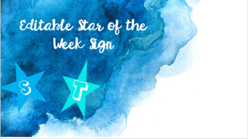 Editable- Star of the Week Sign