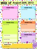 Editable Stars Parent Newsletter PowerPoint Template - FREE