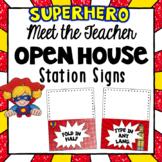 Editable Station Signs   Meet the Teacher   Superhero Them