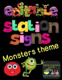Editable Station Signs - Monsters Theme
